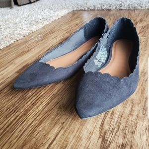 Old Navy Black Suede Scalloped Flats